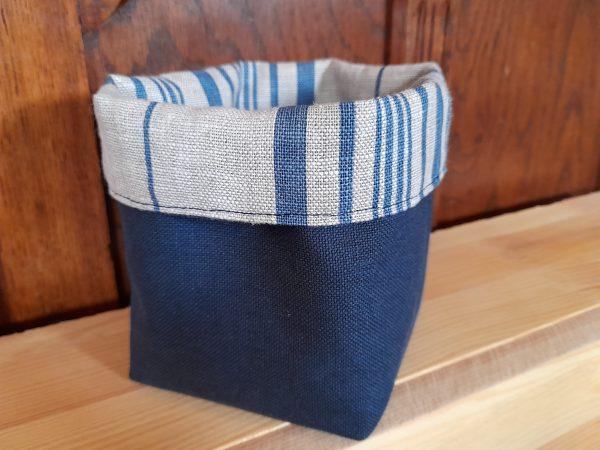 Petit panier réversible – rayé, marine et lin