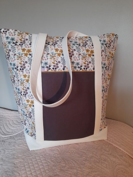 Grand tote bag – petites fleurs – tons violet rose moutard
