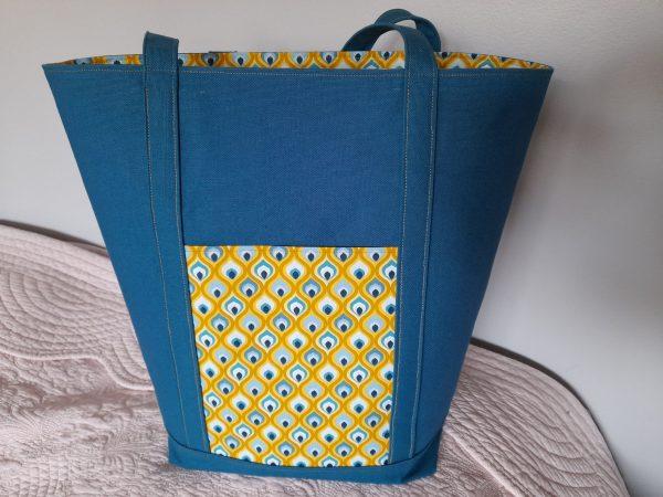 Grand tote bag – écailles de poissons – bleu canard et jaune