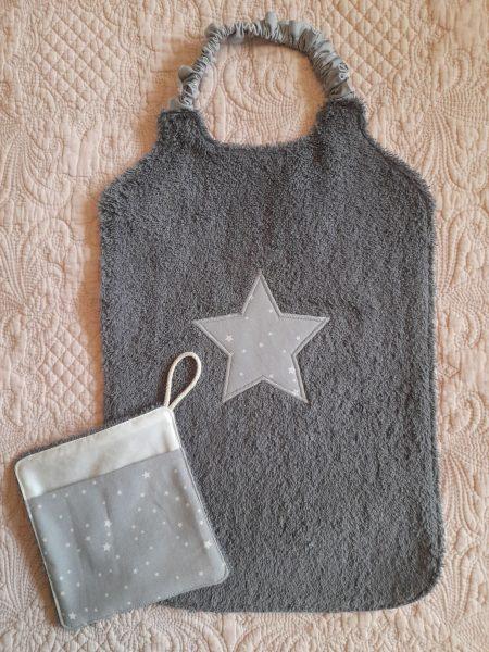 Bavoir XXL et sa débarbouillette assortie – étoiles – gris