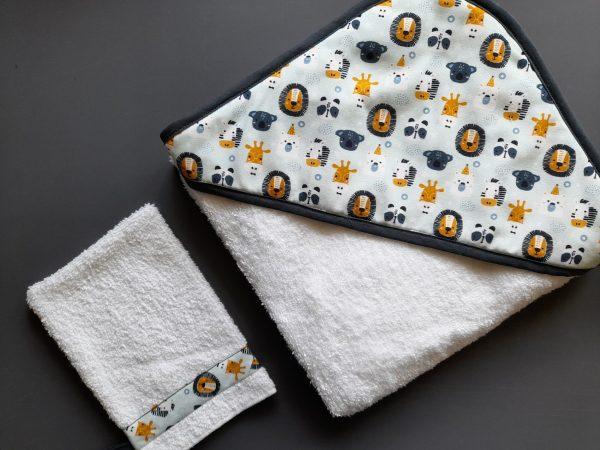Cape de bain et son gant assorti – animaux de la savane – éponge blanche