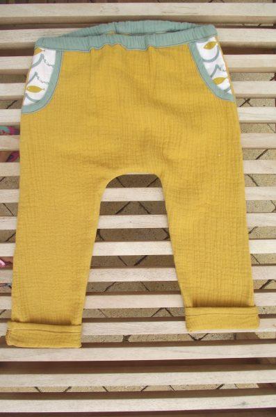 Pantalon enfant double gaze – 2 ans – petits poissons