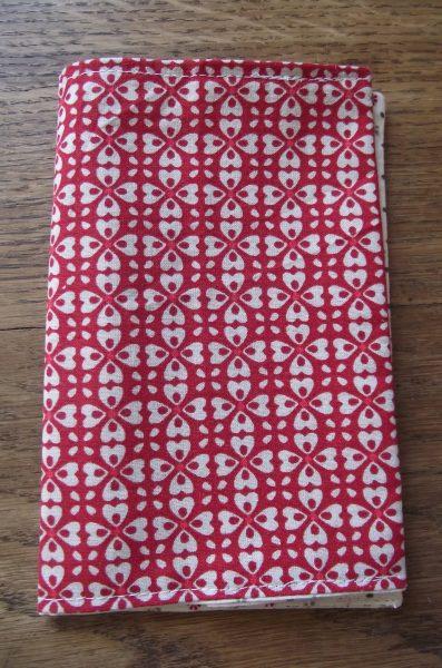 Protège-carnet (petites dimensions) – floral tons rouge et beige