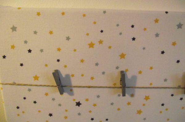 Tableau photos – étoiles tons  jaune, bleu, gris.