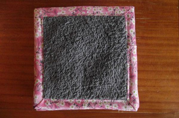 Lot de 10 lingettes – biais Liberty – tons rose et gris