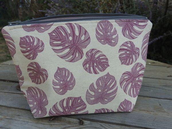 Trousse de toilette – feuilles violettes sur fond couleur lin