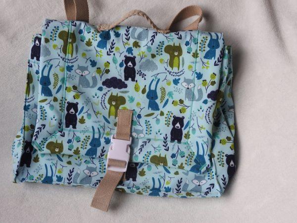 Cartable petit écolier – animaux de la forêt –  bleu vert